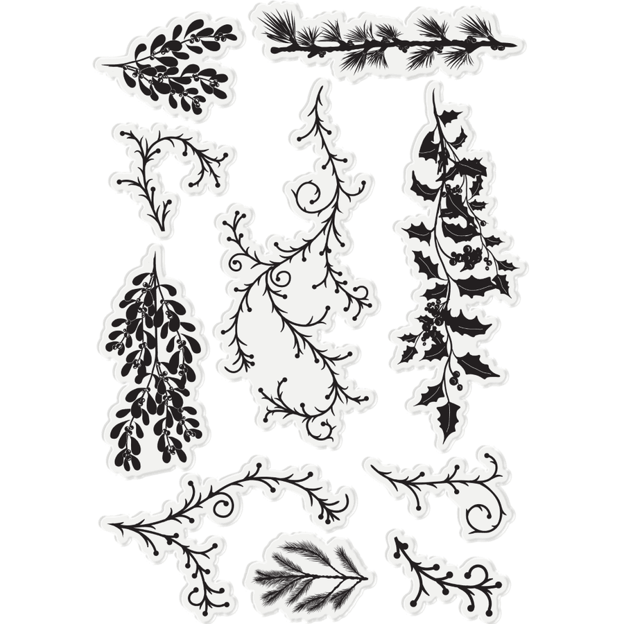 Sara Signature Collection - Enchanted Christmas - Acrylic Stamp - Forest Foliage