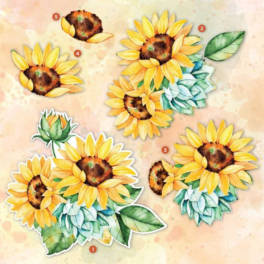 Crafters Companion- Decoupage Topper Pad - Radiant Sunflowers