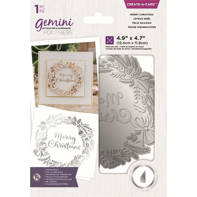 Gemini by Crafters Companion - Foil Stamp Die - Create-a-Card - Merry Christmas