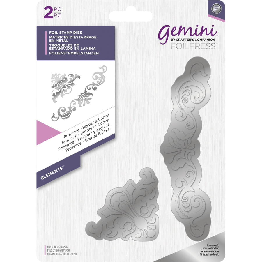 Gemini Foil Stamp Die - Elements -  Provence - Border & Corner