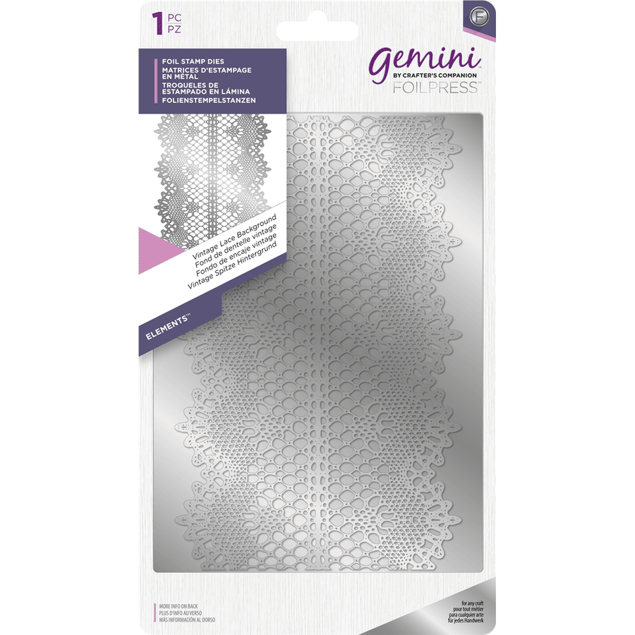 Gemini Foil Stamp Die - Elements - Vintage Lace Background