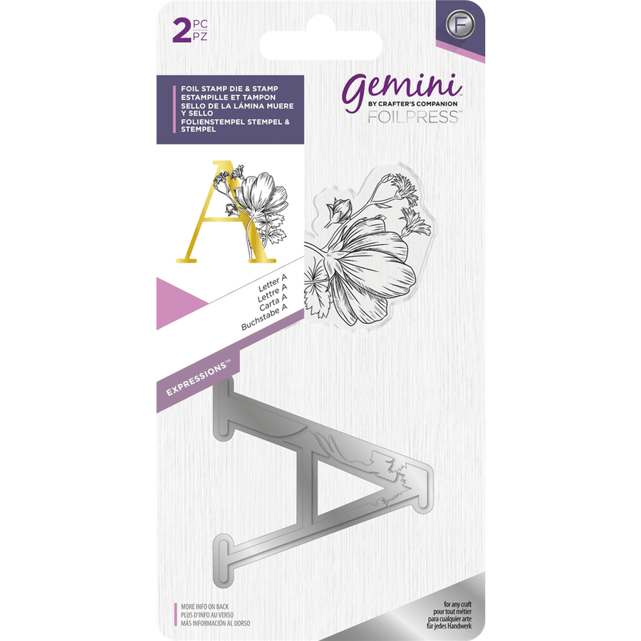 Gemini Foil Stamp Die & Stamp - Expressions - Letter A