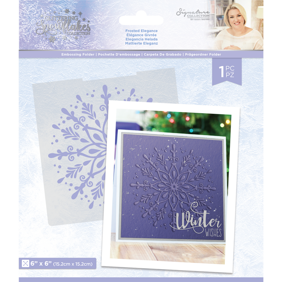 "Sara Signature Collection - Glittering Snowflakes - 6x6"" Embossing Folder - Frosted Elegance"