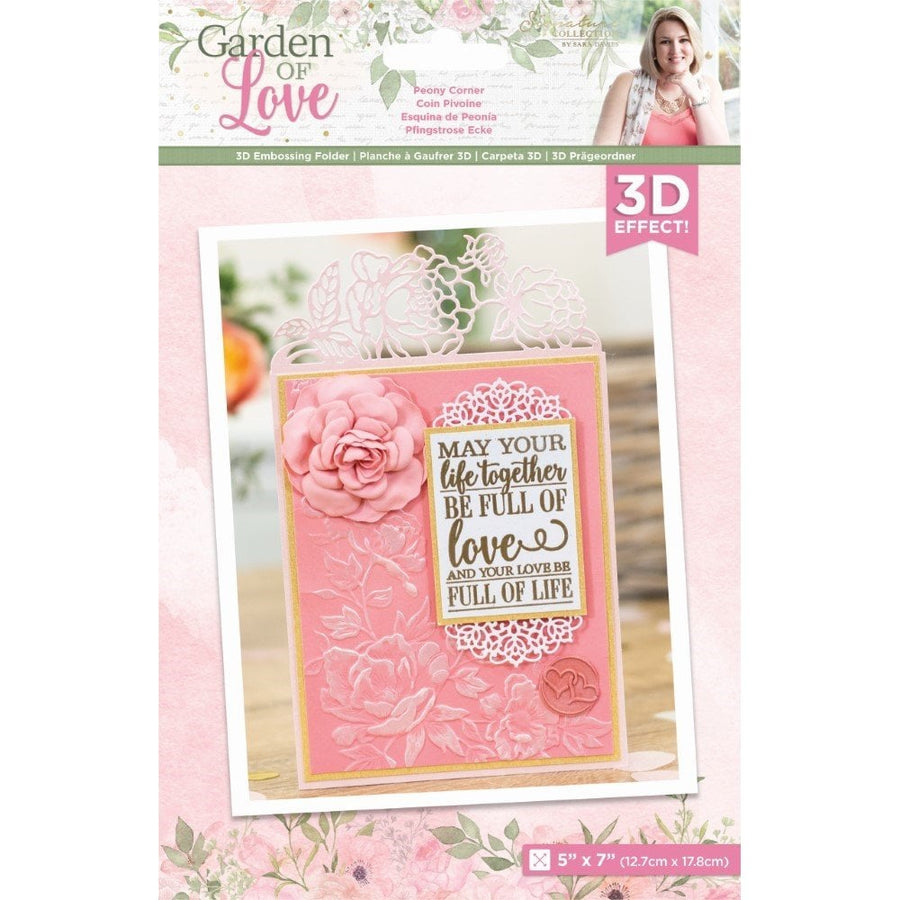 Sara Signature Collection by Crafters Companion - Garden of Love - 3D Embossing Folder - Peony Corner