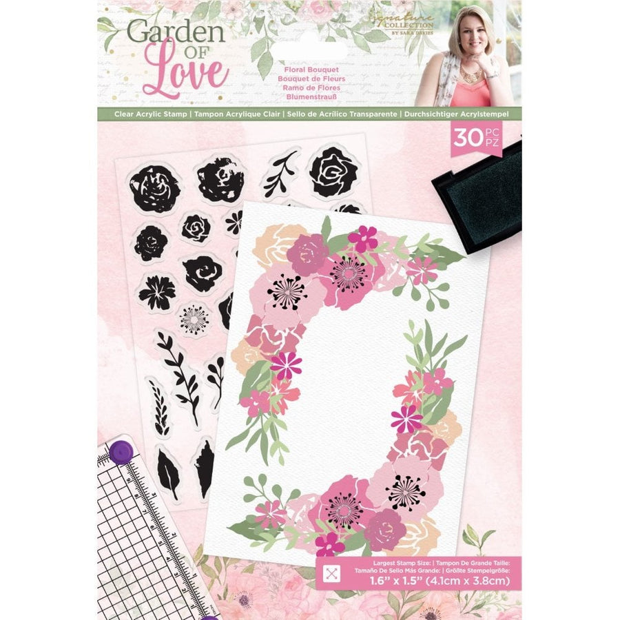Sara Signature Collection by Crafters Companion - Garden of Love - Acrylic Stamp - Floral Bouquet