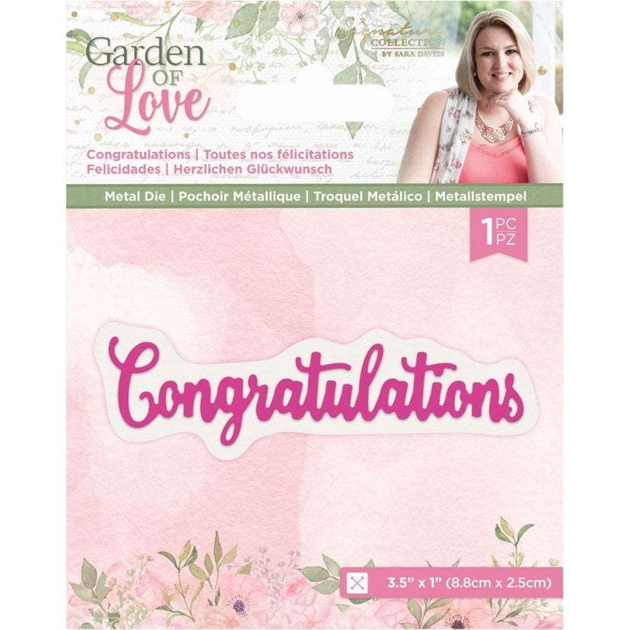 Sara Signature Collection by Crafters Companion - Garden of Love - Metal Die - Congratulations
