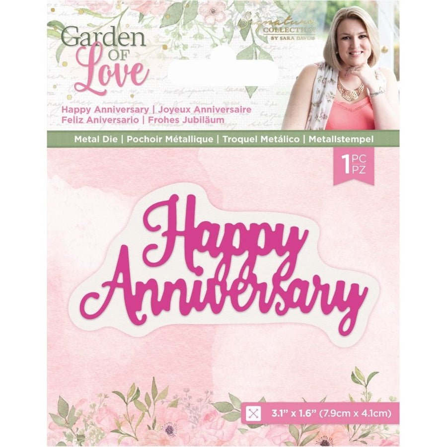 Sara Signature Collection by Crafters Companion - Garden of Love - Metal Die - Happy Anniversary