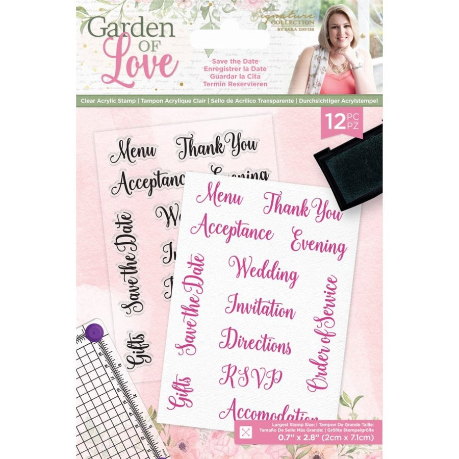 Sara Signature Collection by Crafters Companion - Garden of Love - Acrylic Stamp - Save the Date