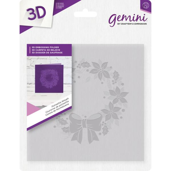 Gemini by Crafters Companion - 6 x 6 3D Embossing Folder - Poinsettia Wreath