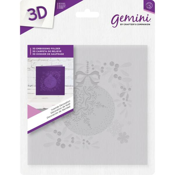 Gemini by Crafters Companion - 6 x 6 3D Embossing Folder - Yuletide Decoration