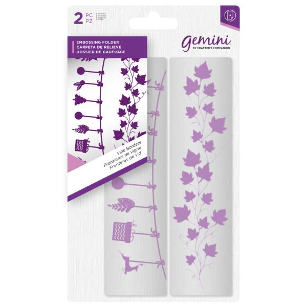 Gemini by Crafters Companion - Embossing Folder (2PC) - Vine Borders