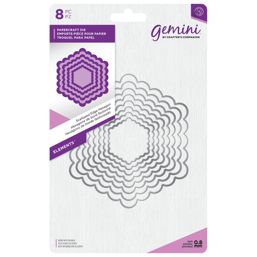 Gemini Die by Crafters Companion - Elements - Scalloped Edge Hexagon