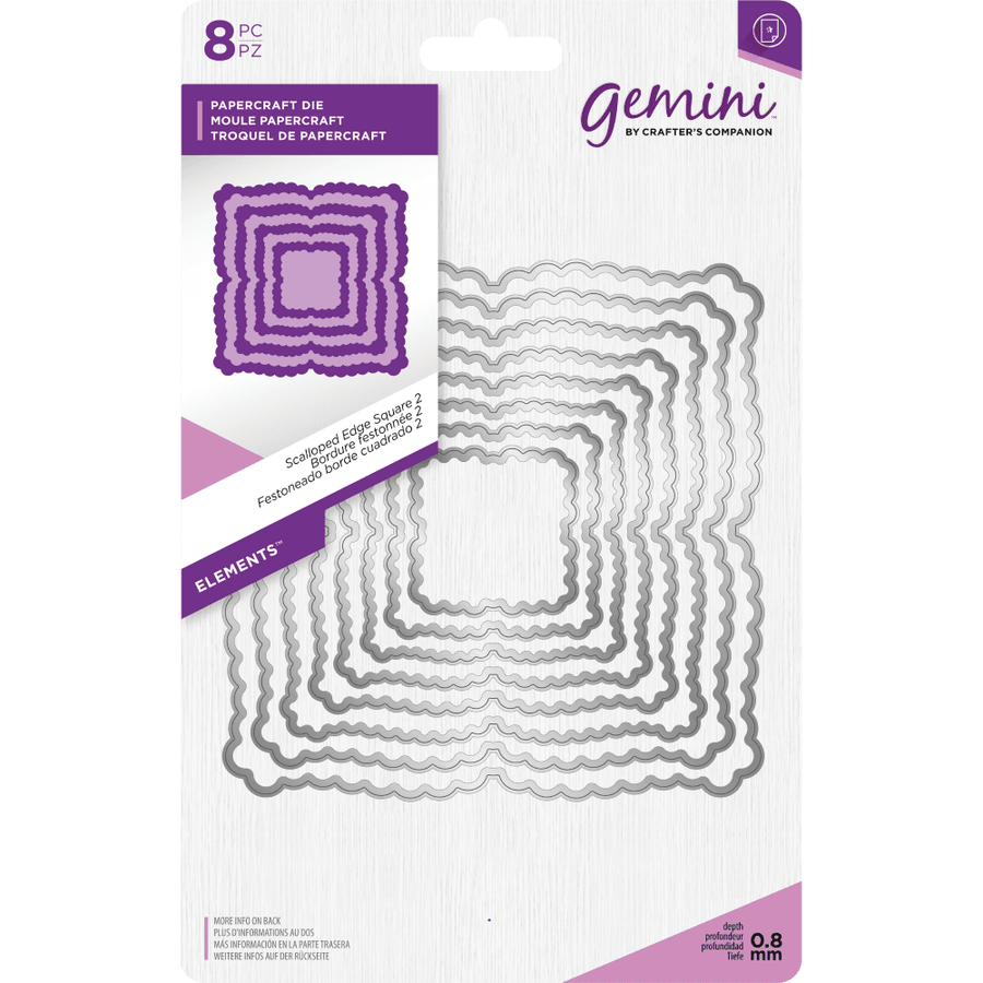 Gemini Die by Crafters Companion - Elements - Scalloped Edge Square 2