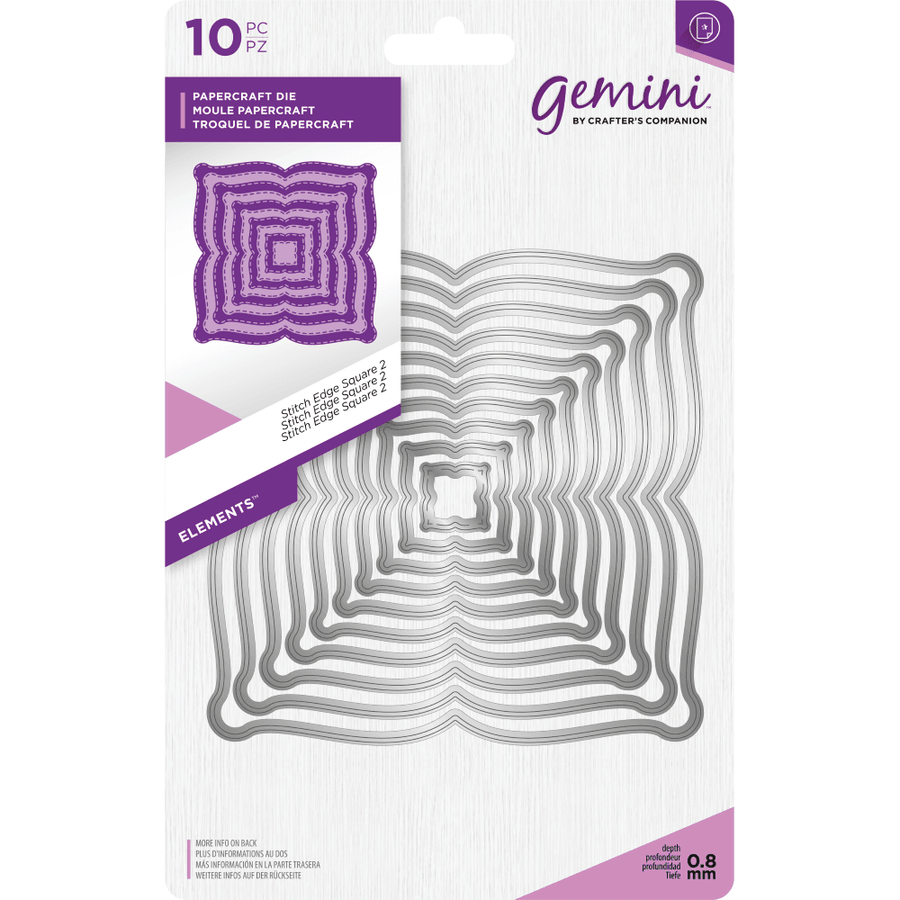 Gemini Die by Crafters Companion - Elements - Stitch Edge Square 2