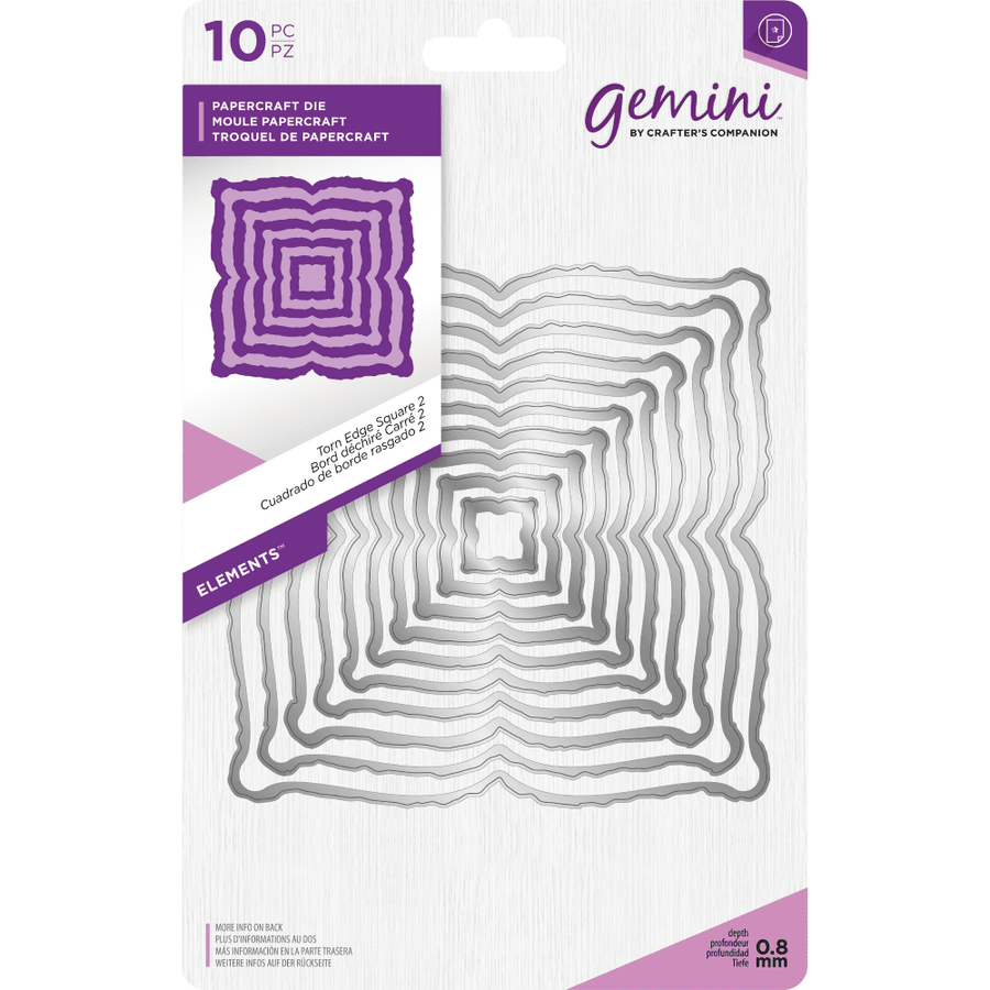 Gemini Die by Crafters Companion - Elements - Torn Edge Square 2
