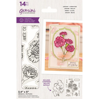 Gemini - Birthday Month Floral Stamp & Die - January - Carnation
