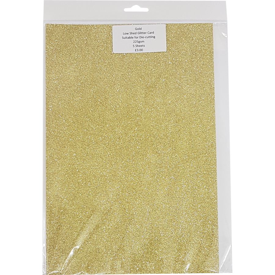 Low Shed Glitter Card (5 Sheets) - Gold