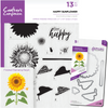 Crafters Companion - Die & Stamp Combo - Happy Sunflower