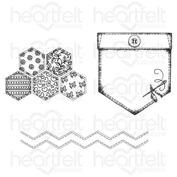 Heartfelt Creations Stamp: Patchwork Pocket & Patterns (HCPC-3850)