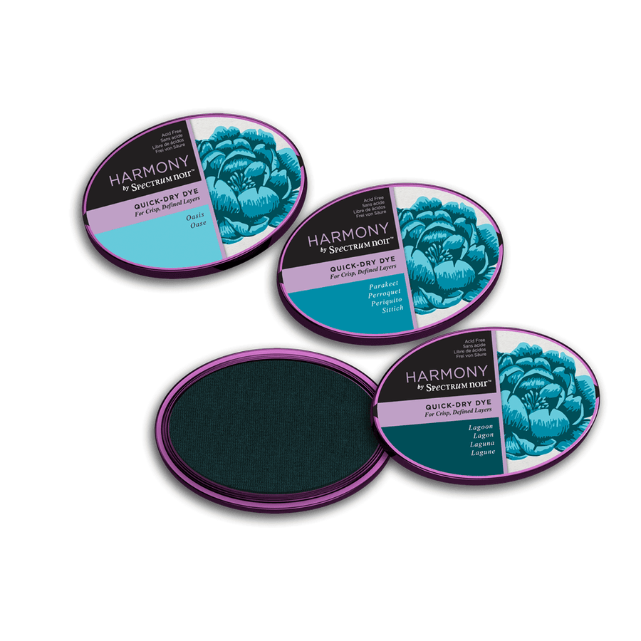 Spectrum Noir Inkpad - Harmony Quick-Dry Dye - 3 Pack - Aqua Blues