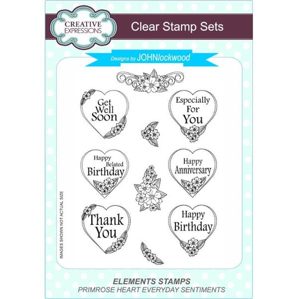 John Lockwood Stamps - Primrose Heart Everyday Sentiments Clear Stamp Set