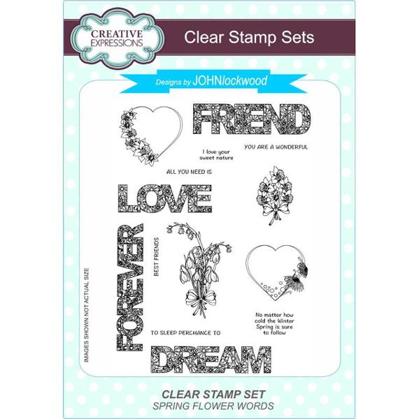 John Lockwood Stamps - Spring Flower Words Clear Stamp Set