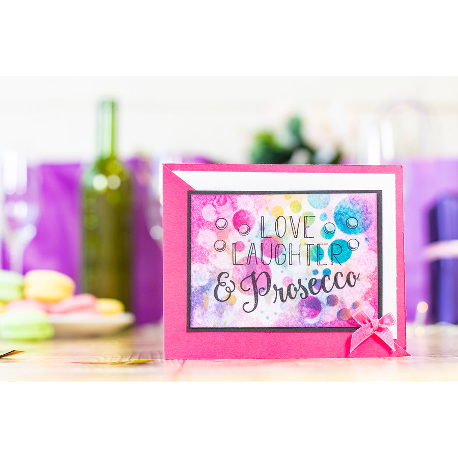 Crafters Companion - Clear Acrylic Stamps - Laughter & Prosecco