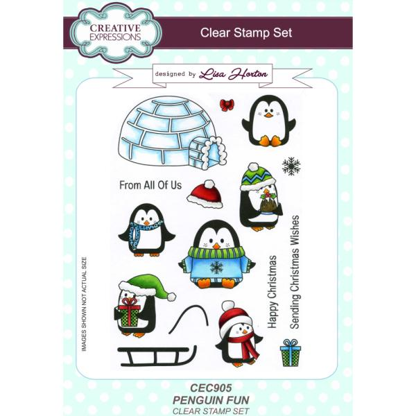Lisa Horton Stamps - Penguin Fun A5 Clear Stamp Set