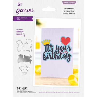 Gemini by Crafters Companion - Metal Die - Expressions - It's Your Birthday