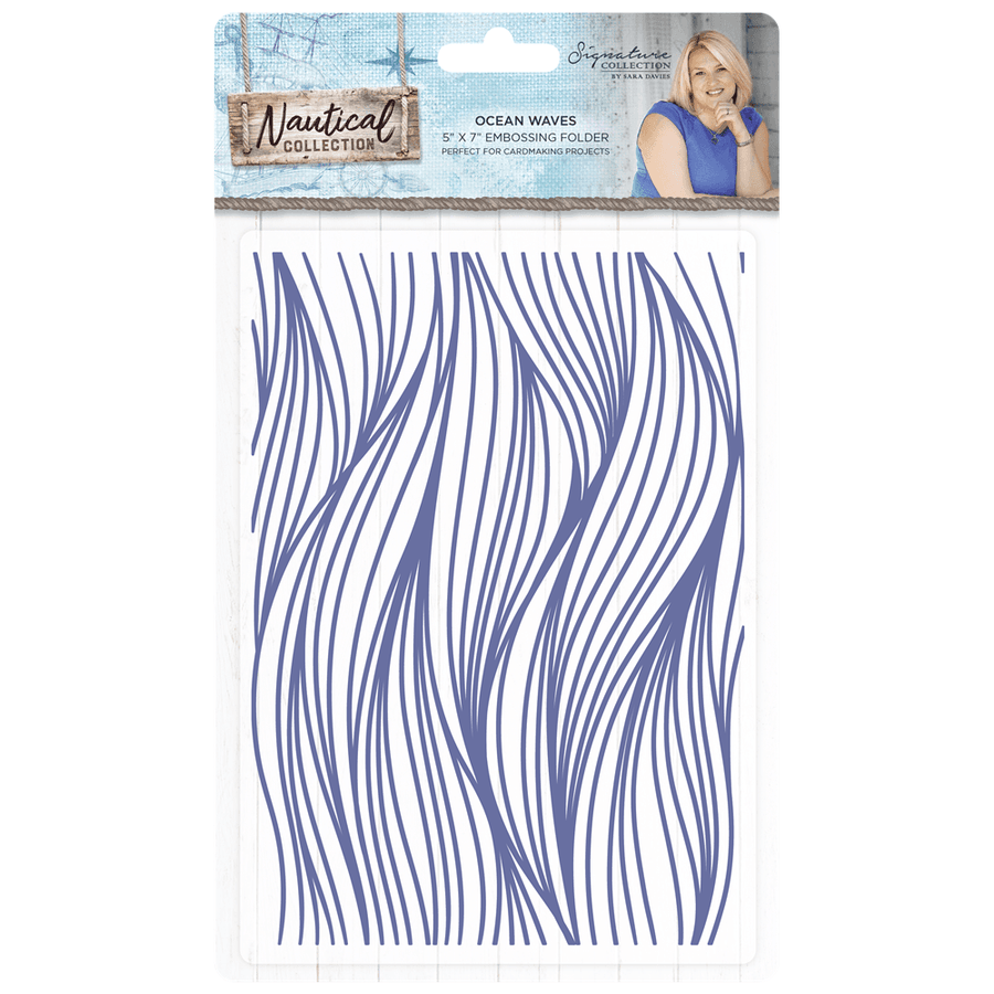 Sara Signature Collection - Nautical - 5x7 Embossing Folder - Ocean Waves