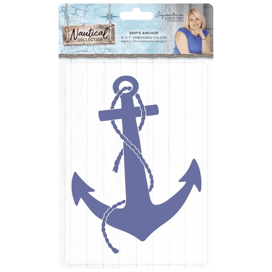 Sara Signature Collection - Nautical - 5x7 Embossing Folder - Ship's Anchor