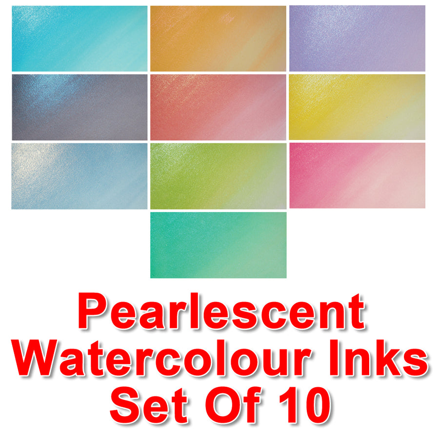 Cosmic Shimmer Pearlescent Watercolour Ink - Full Set of 10