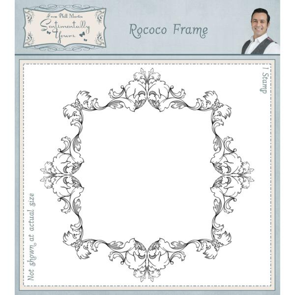 Phill Martin Stamps - Rococo Frame Pre Cut Rubber Stamp