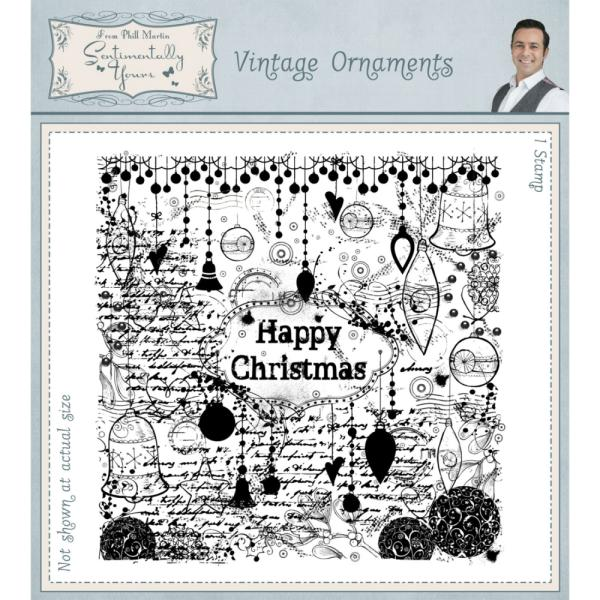 Phill Martin Vintage Ornaments Pre Cut Rubber Stamp