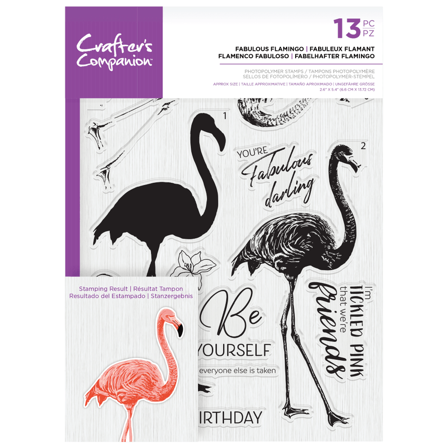 Crafters Companion Gemini - Photopolymer Stamp - Fabulous Flamingo