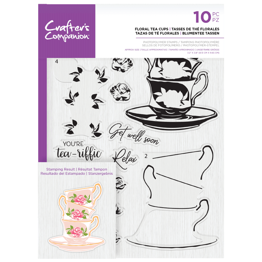 Crafters Companion Gemini - Photopolymer Stamp - Floral Tea Cups