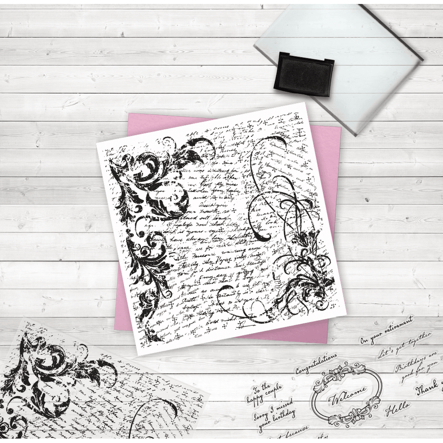 Crafters Companion - Photopolymer Stamp - Script Collage