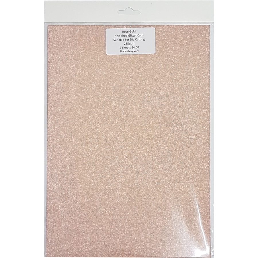 Non Shed Glitter Card (5 Sheets) - Rose Gold