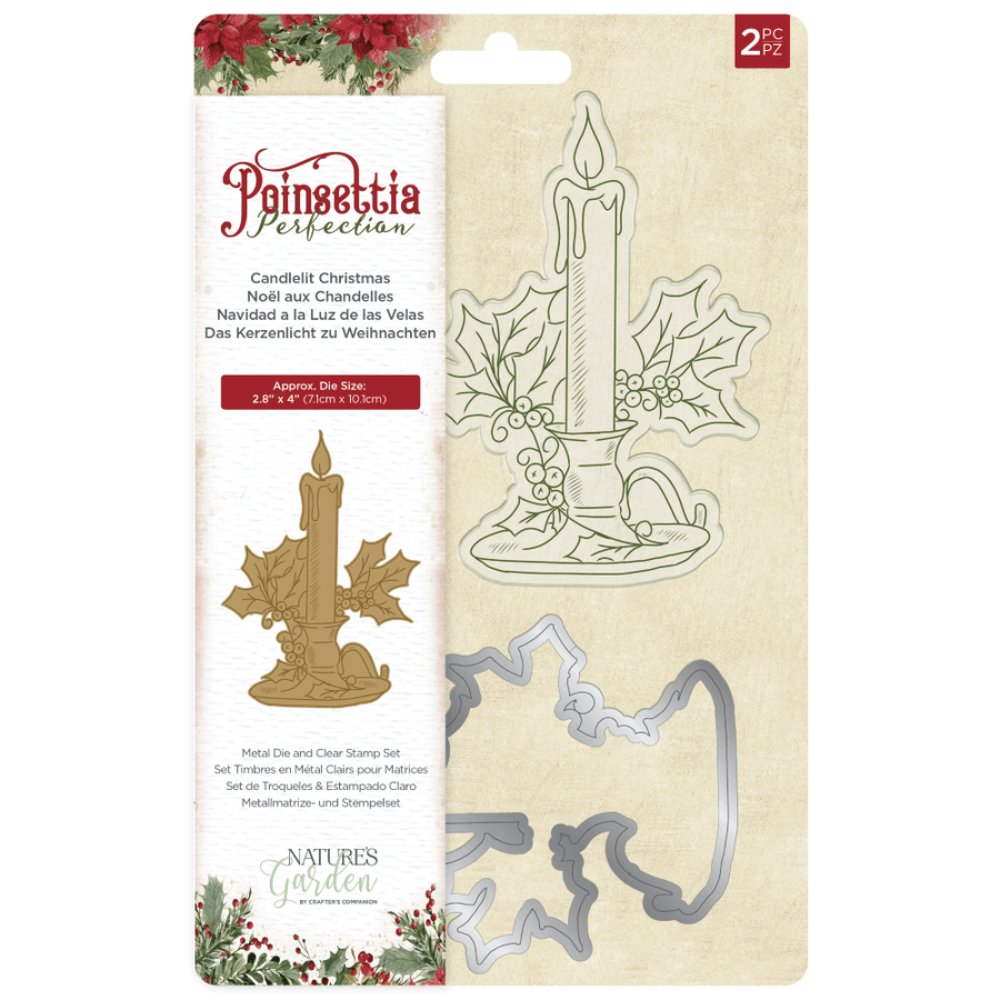 Nature's Garden - Poinsettia Perfection - Stamp & Die - Candlelight Christmas