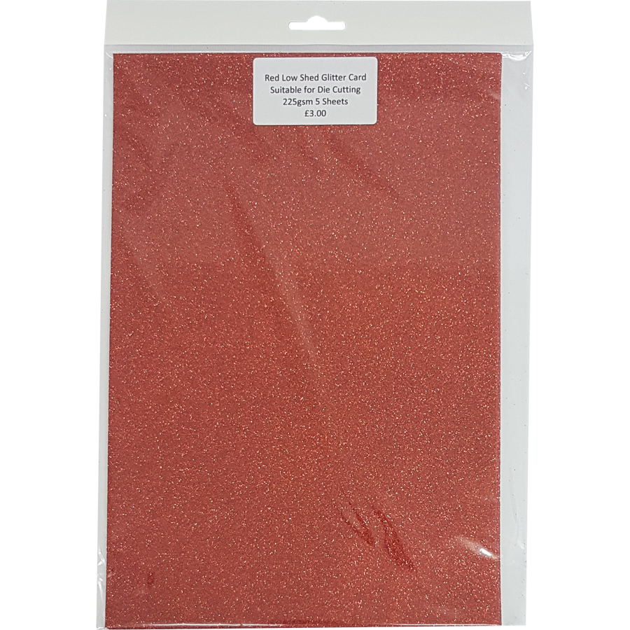 Low Shed Glitter Card (5 Sheets) - Red