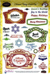 JustRite Cling Stamps - Christmas Vintage Labels One (CR-03820)