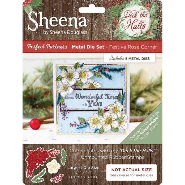 Sheena Douglass - Deck the Halls - Metal Die - Festive Rose Corner