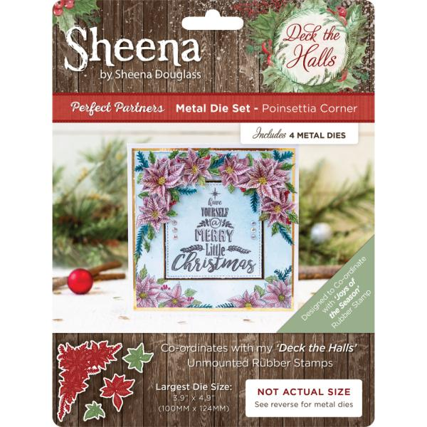 Sheena Douglass - Deck the Halls - Metal Die - Poinsettia Corner