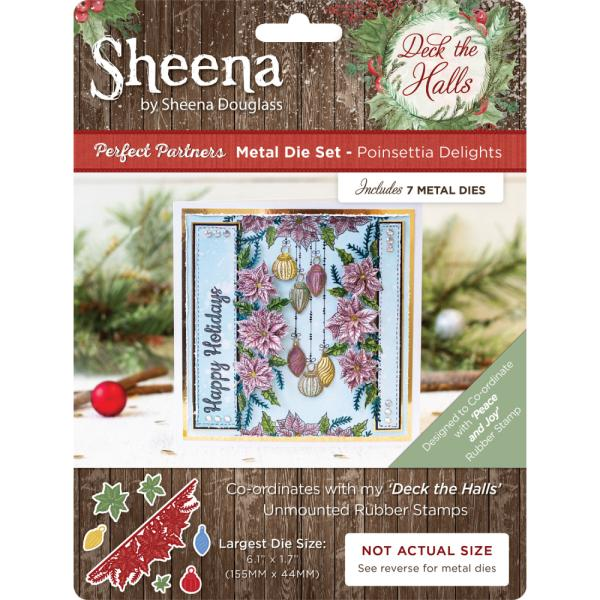 Sheena Douglass - Deck the Halls - Metal Die - Poinsettia Delights