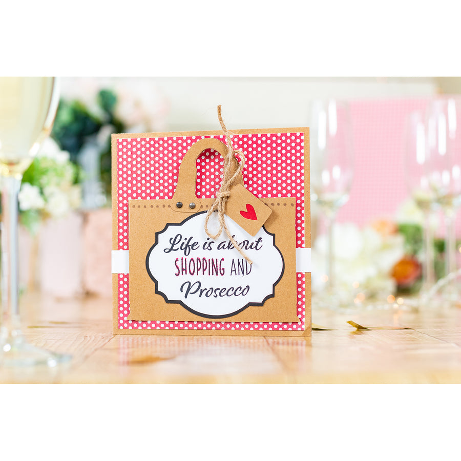 Crafters Companion - Clear Acrylic Stamps - Shopping and Prosecco
