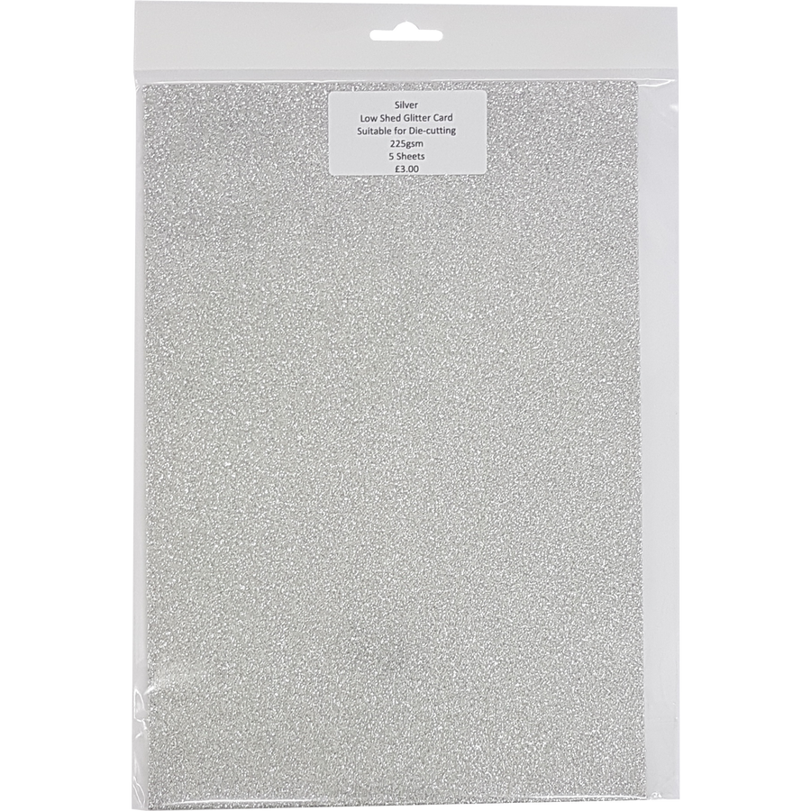 Low Shed Glitter Card (5 Sheets) - Silver