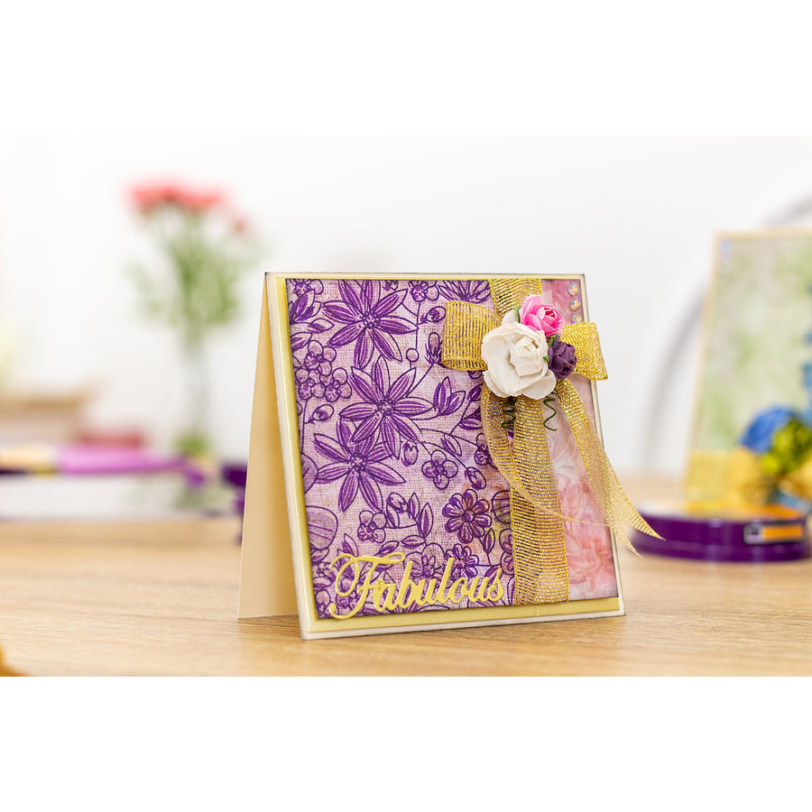 Crafters Companion - A6 Background Layering Stamps - Spring Display