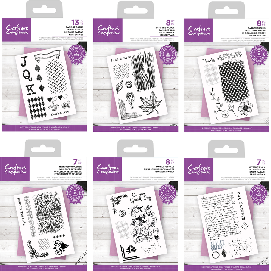 Crafters Companion - Layered Texture  Stamps - Bundle Of 6