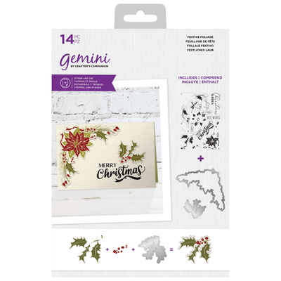 Gemini by Crafters Companion - Stamp & Die - Festive Foliage