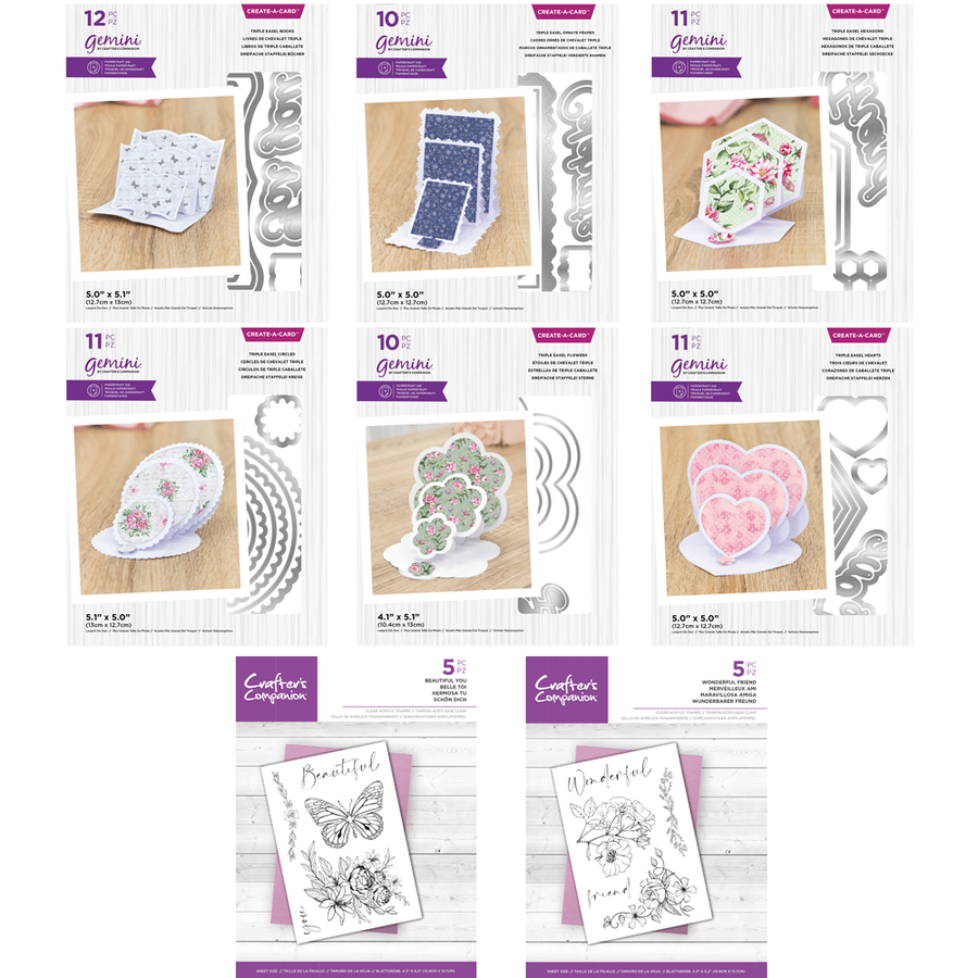 Gemini - Create A Card - Triple Easel Card Bundle (With Stamps)